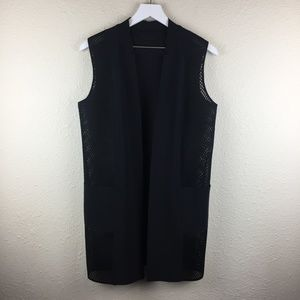 Elie Tahari Women's Black Tonya Mesh Panel Vest